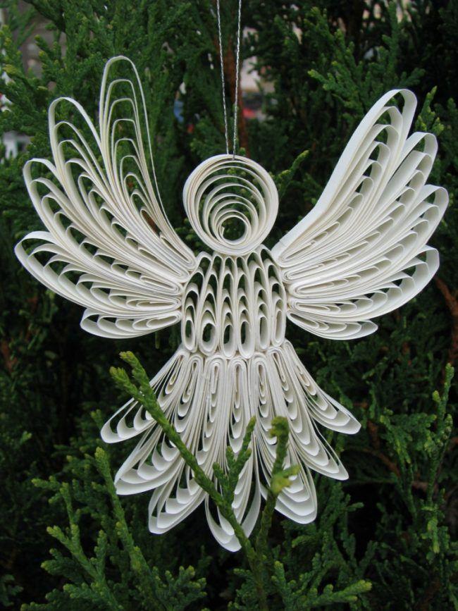 Marvelous Basteln Mit Papierstreifen Quilling Engel Weiß Baumschmuck Flügel Design Inspirations