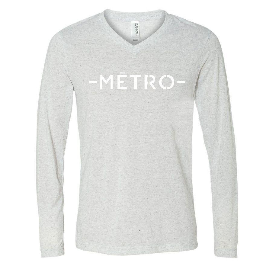 White on White Metro V-neck Long Sleeve Tee