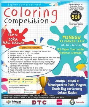 LombaMewarnai ColoringCompetition ErlanggaForKids Gramedia DepokTownCenter Depok Coloring Competition Dora Pergi Sekolah 2017 Town Center ACARA