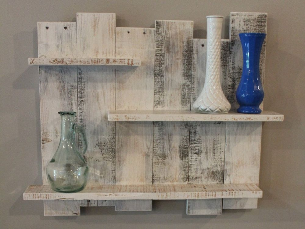 White Pallet Wood Shelf, Wall Decor, White Reclaimed Wood