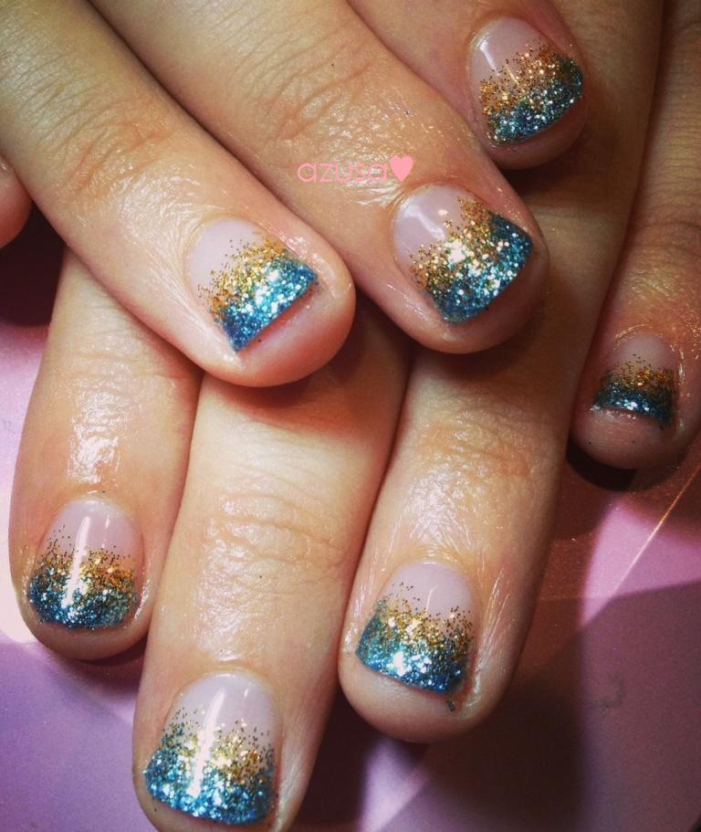 beach color glitter #gel #nail #nailart #ombre