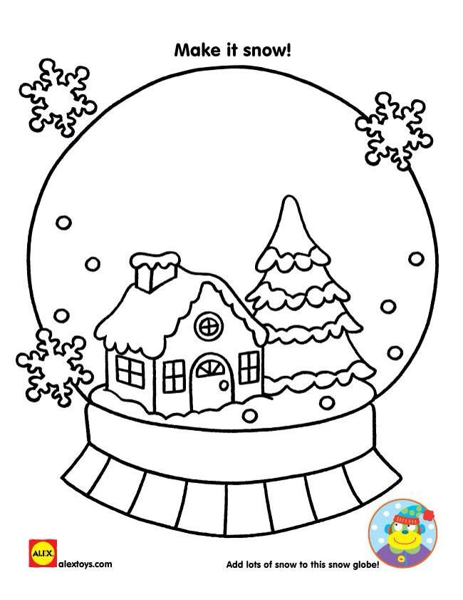 Snow Globe Coloring Page Christmas Drawing Christmas Snow Globes