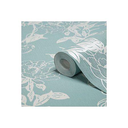 Graham Brown Jiao Cream Duck Egg Floral Metallic Wallpaper