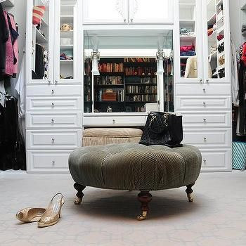 Outstanding Walk In Closet With Round Tufted Ottoman On Caster Legs In Alphanode Cool Chair Designs And Ideas Alphanodeonline