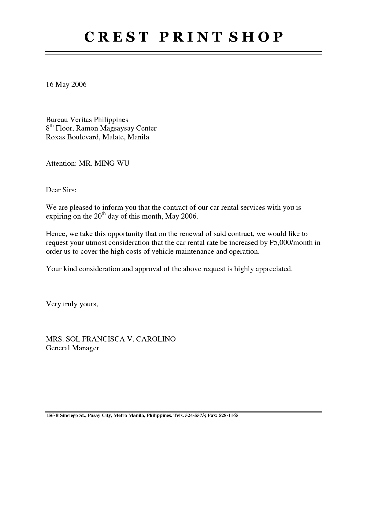 Lease Renewal Letter Gplusnick Sample Business Wfmoiy  Home