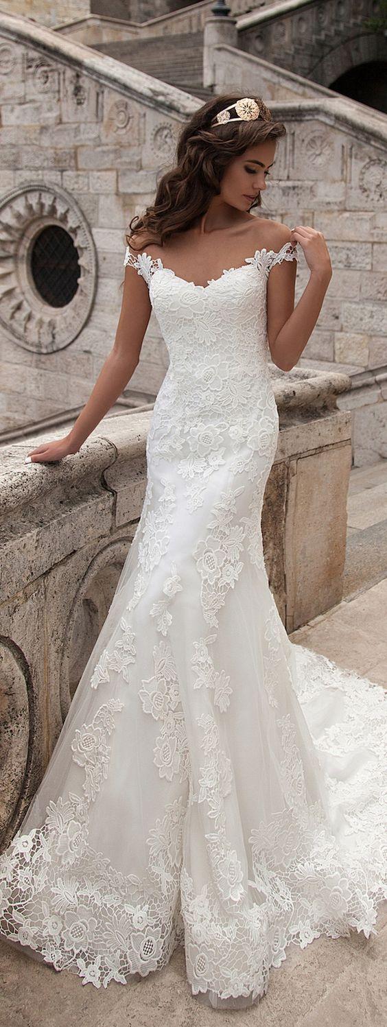Full lace wedding dresseswhite wedding dressmermaid wedding dress