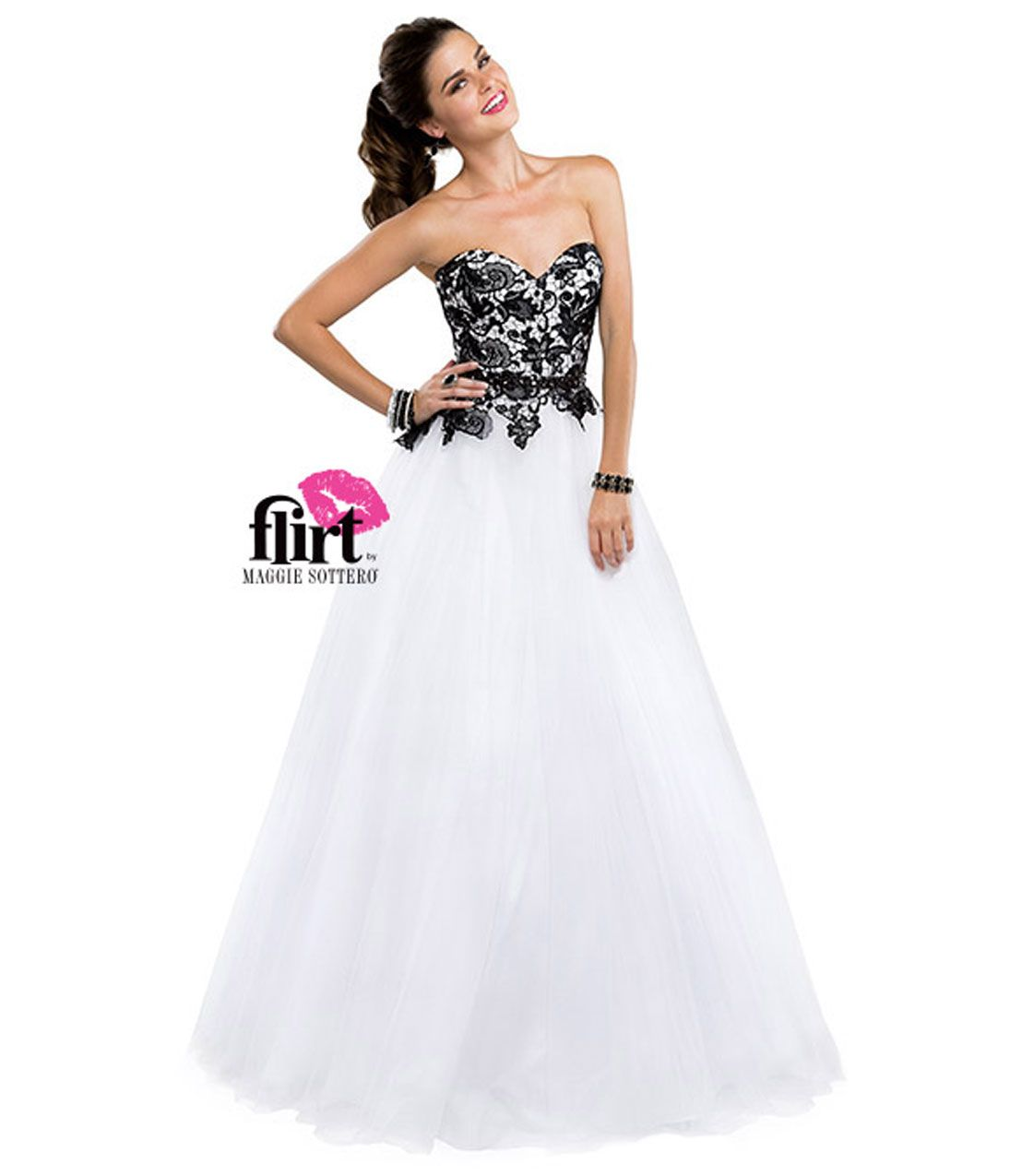 And White Lace Prom Dress