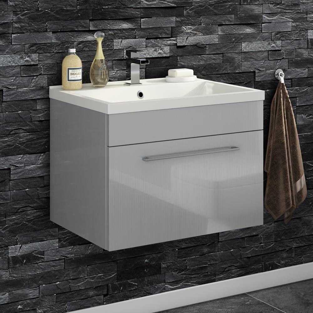 Vellamo Aspire 600mm Wall Mounted 1 Drawer Vanity Unit Basin Gloss Grey Vanity Units Blue Bathroom Furniture Bathroom Furniture Uk