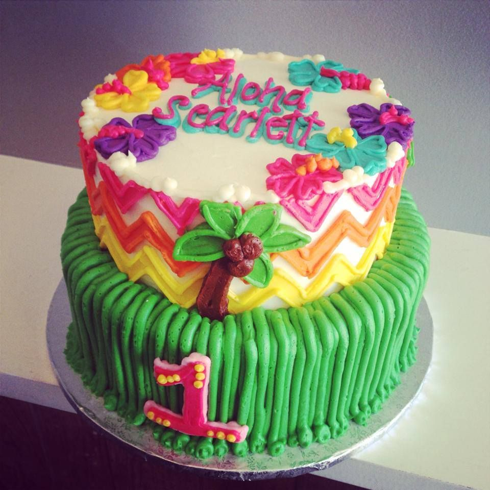 Aloha Luau Buttercream Birthday Cake HayleyCakes And Cookies Austin TX
