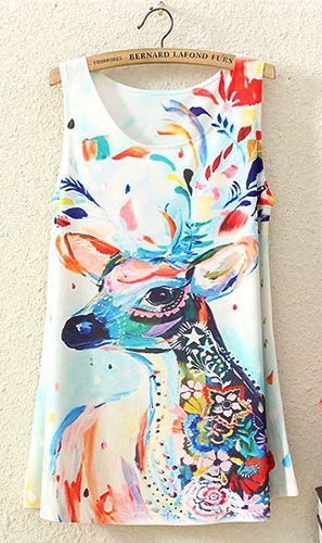 Mixed Color Deer Print Long Tank Top T Shirt