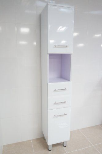 Vegas White Fully High Gloss Tall Floor Standing Bathroom Unit With Soft Close Doors By Premier Bathroo Bathroom Units White Bathroom Cabinets Soft Close Doors