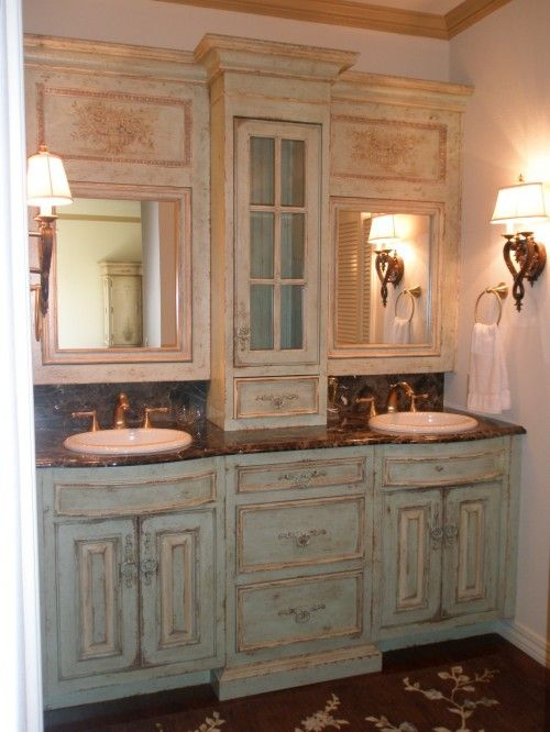 Idea To Redo Bathroom Cabinets I Love The Double Sink And Mirrow Set Up Would Use A Diffe Hue Of Color Than Green But This Is Awesome