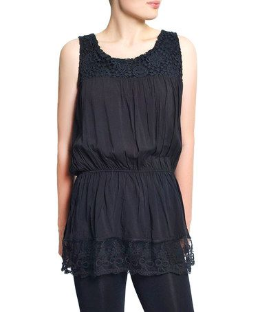 Another great find on #zulily! Black Lace Blouson Tank - Women #zulilyfinds