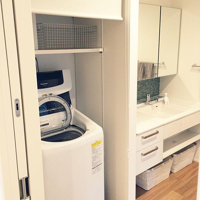 女性で、の洗濯機/無印良品/パナソニック/シンプル/シャーウッド/積水ハウス…などについてのインテリア実例を紹介。「洗濯機は縦か横か相当悩んだ結果。