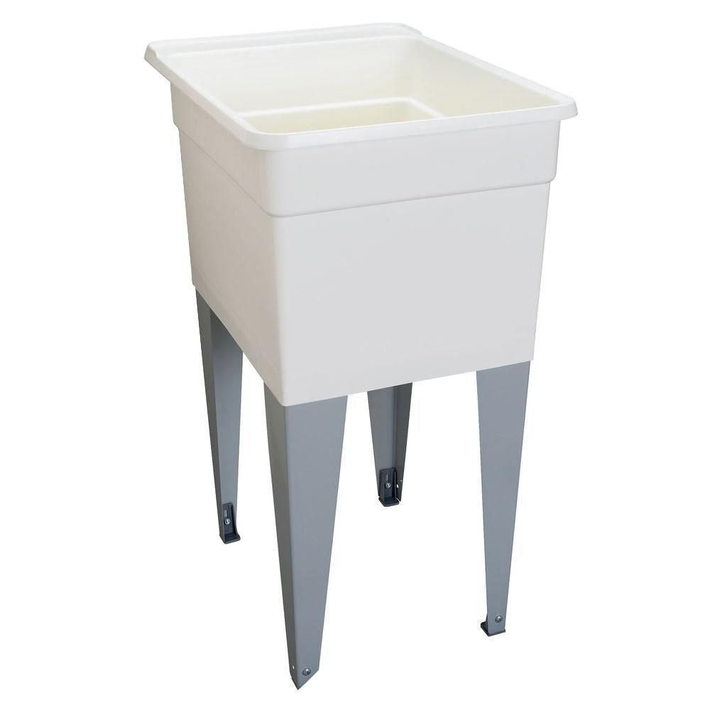 Details About Small White Plastic Laundry Utility Sink Tub Floor