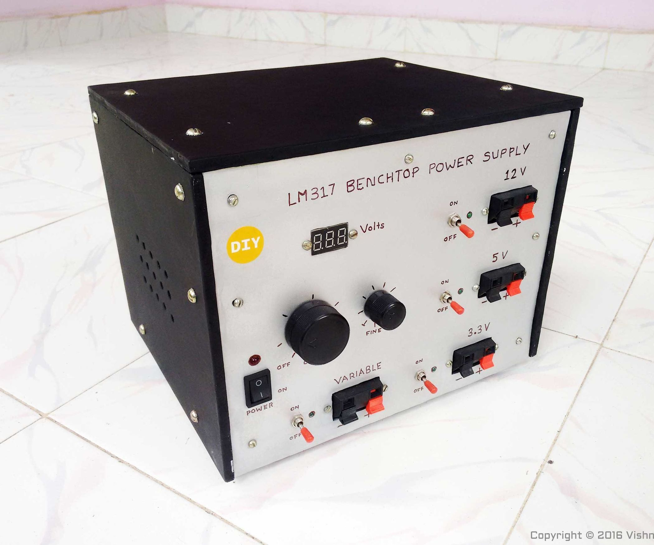 Lm317 Based Diy Variable Benchtop Power Supply Electronics Projects Power Supply Hobby Electronics