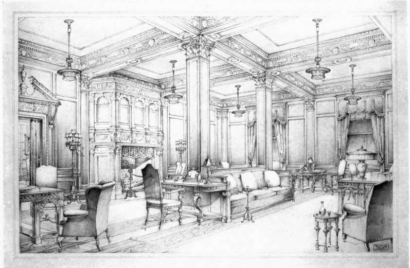 Pencil Rendering By Erwin J Pauli Of A Design For Club Room Interior SketchInterior