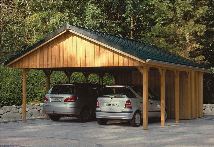 double carport douglas fir with an attached shed