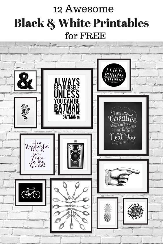 12 Free Black and White Printables great for using in your gallery