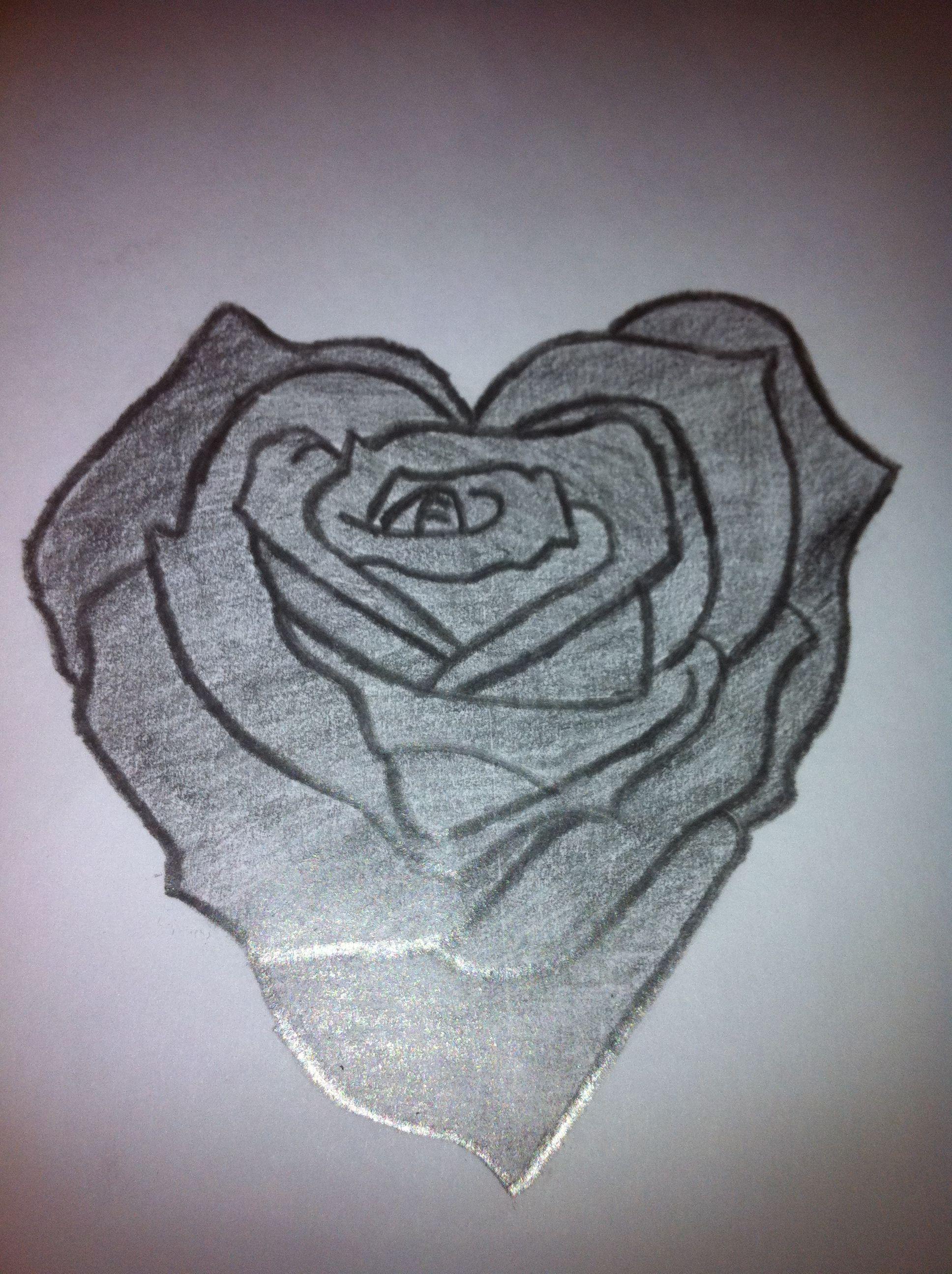 Heart Rose Drawing : heart, drawing, Heart, Shaped, Drawing, Josh2143, Drawing,, Flower