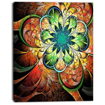 """DesignArt 'Colorful Fractal Flower Pattern' Graphic Art on Wrapped Canvas Size: 40"""" H x 30"""" W x 1"""" D"""