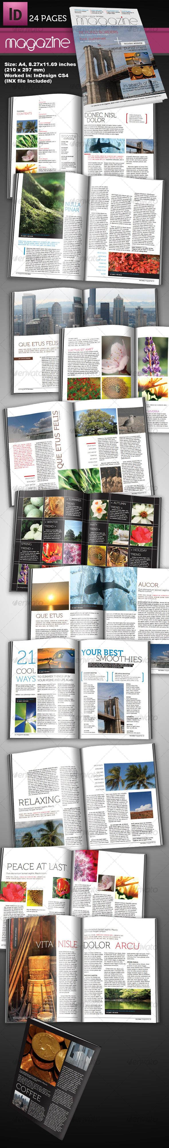 24 page indesign magazine a4 | print templates, magazines and template, Powerpoint templates