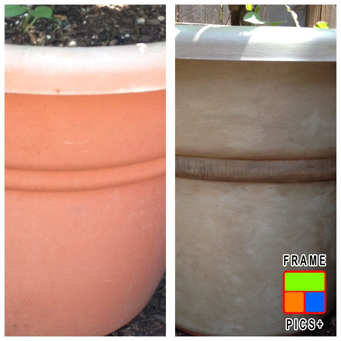 Pinterest & I painted a large plastic flower pot with Annie Sloan paint ...