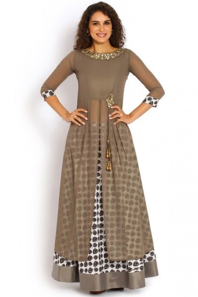 0a8b1e7216 Soch Grey and Gold Georgette Kurti Suit - SNDA KS 70001 | Everything ...