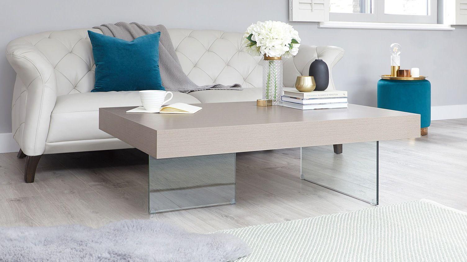 Aria Large Grey Oak And Glass Coffee Table Oak Coffee Table Grey Oak Table