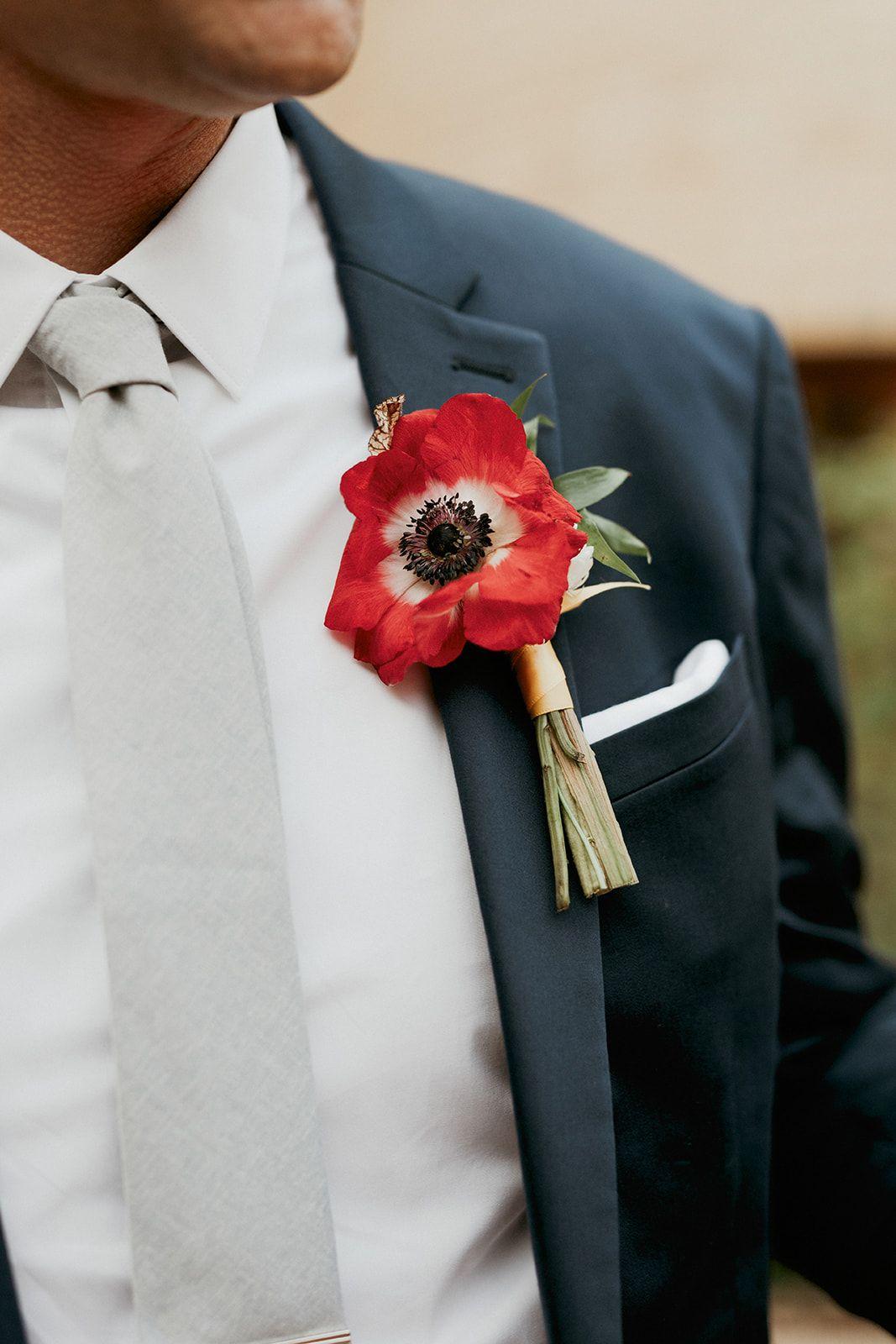 Boutonniere summer wedding latin wedding red