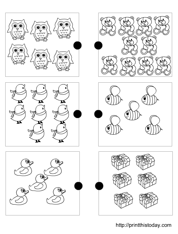 Joining the matching sets free printable preschool math worksheets ...