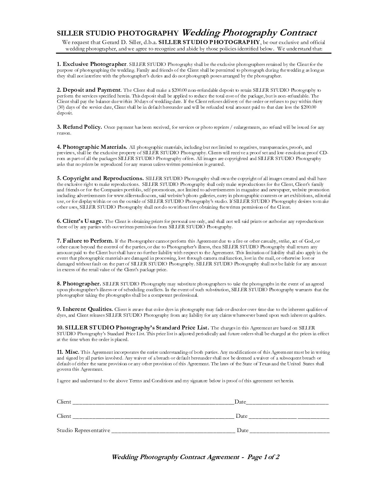 Wedding Photography Contract = |4| = Wedding Photography Contract ...