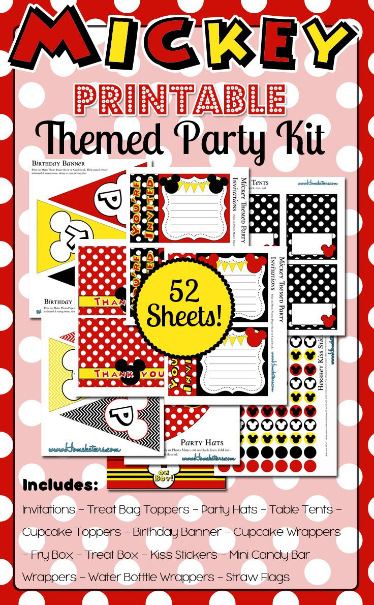 mickey mouse themed party printables huge kit free for 48 hours free printables. Black Bedroom Furniture Sets. Home Design Ideas