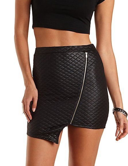 4861670dbf Quilted Asymmetrical Mini Skirt#charlottelook #charlotterusse ...