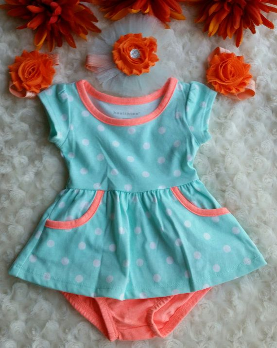 a1bb8f6a7516f This is a cute Teal n Orange Newborn Baby Set. You can buy just the top n  pants , or the Headband n Barefoot Sandals. Headband is 13in Would be nice  for ...