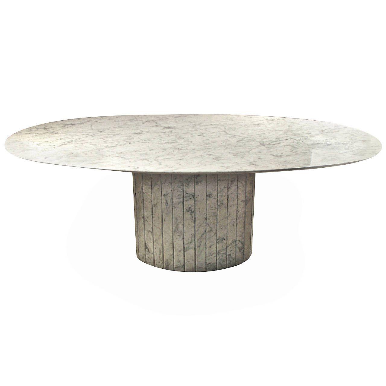 Gorgeous Oval Knife Edged Carrara Marble Dining Table Italy