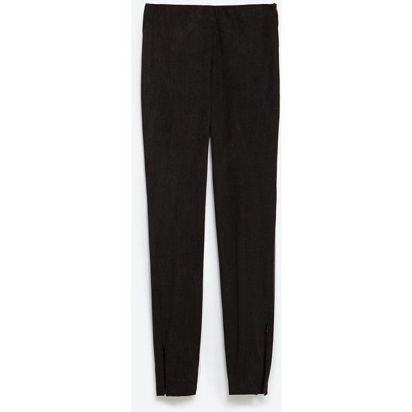 95071b467027e1 Zara Faux Suede Leggings (135 SAR) ❤ liked on Polyvore featuring pants,  leggings, black, zara leggings, zara trousers, legging pants, faux suede  leggings ...