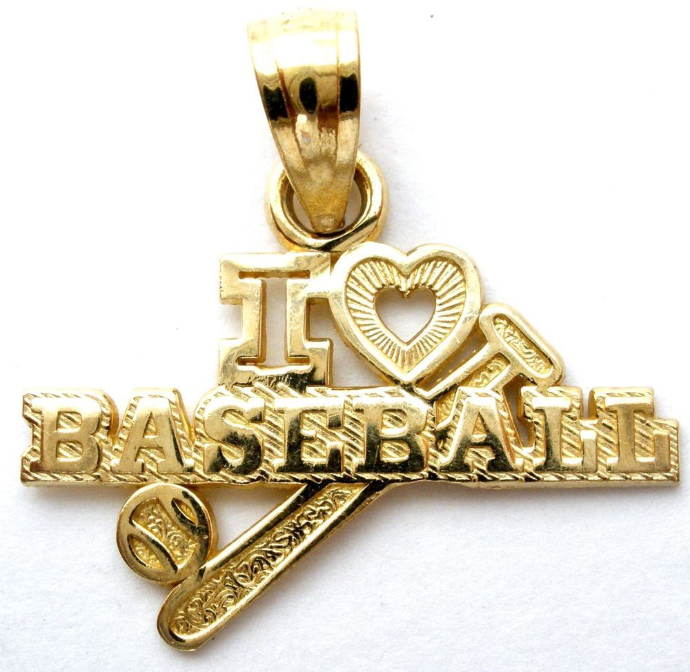 I Love Baseball Charm Yellow Gold Sports Jewelry Pendant For Necklace 5 Grams Jewelry Watches Fine Jewelry F Sports Jewelry Jewelry Gold Diamond Pendant