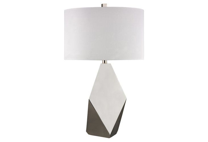 Otis Color-Block Table Lamp, Gray
