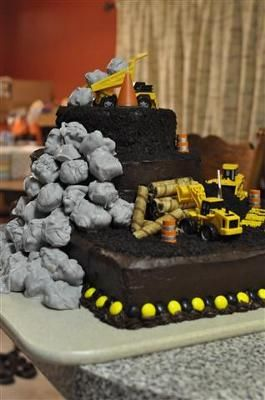 Coolest Construction Theme 1st Birthday Cake Construction theme