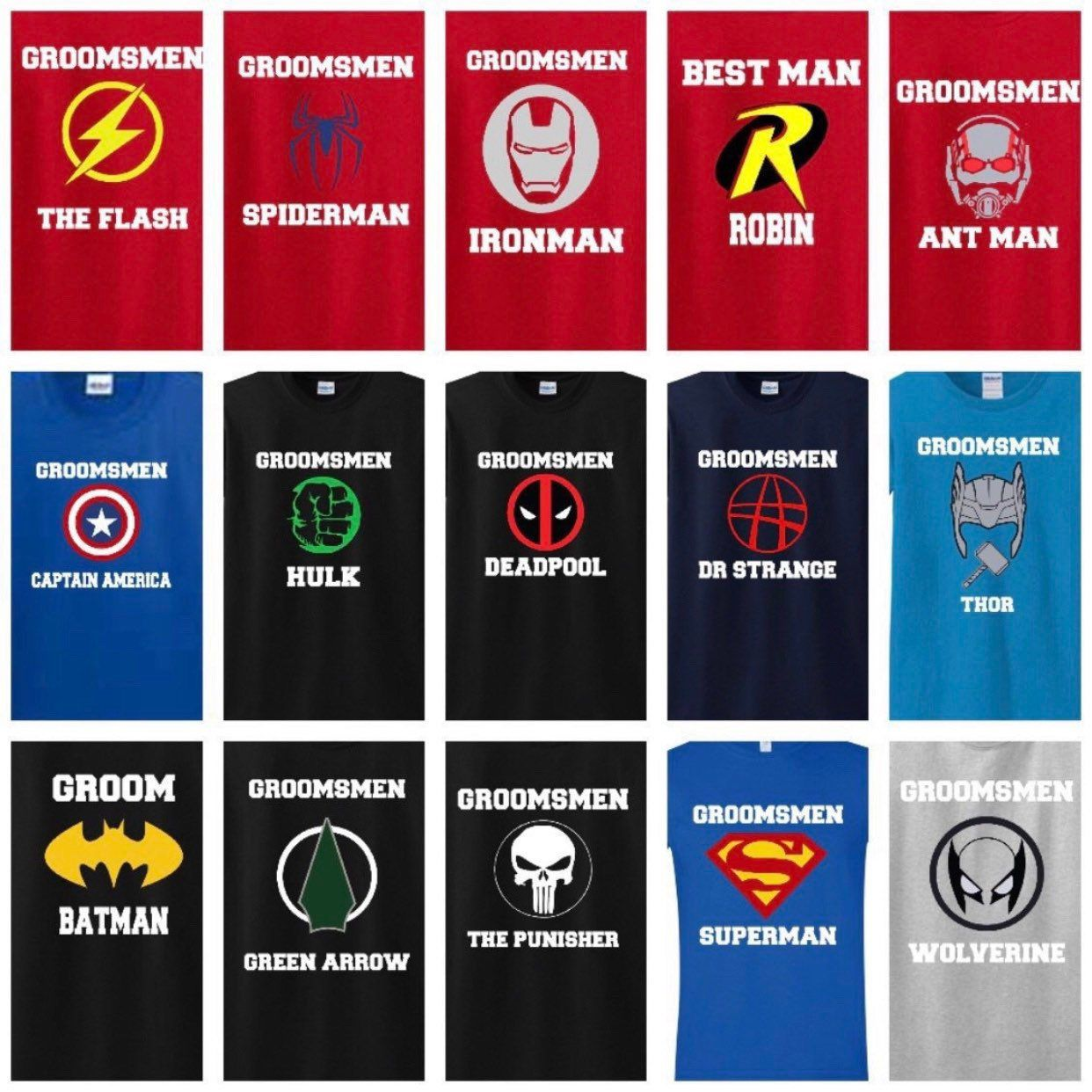 Superhero Groomsmen Shirts Custom Listing