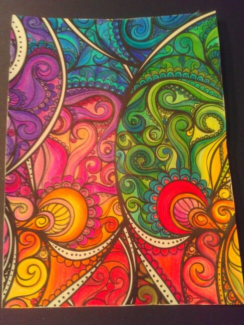 Finished, Posh coloring book pages, color, inspiration, love doodles ...