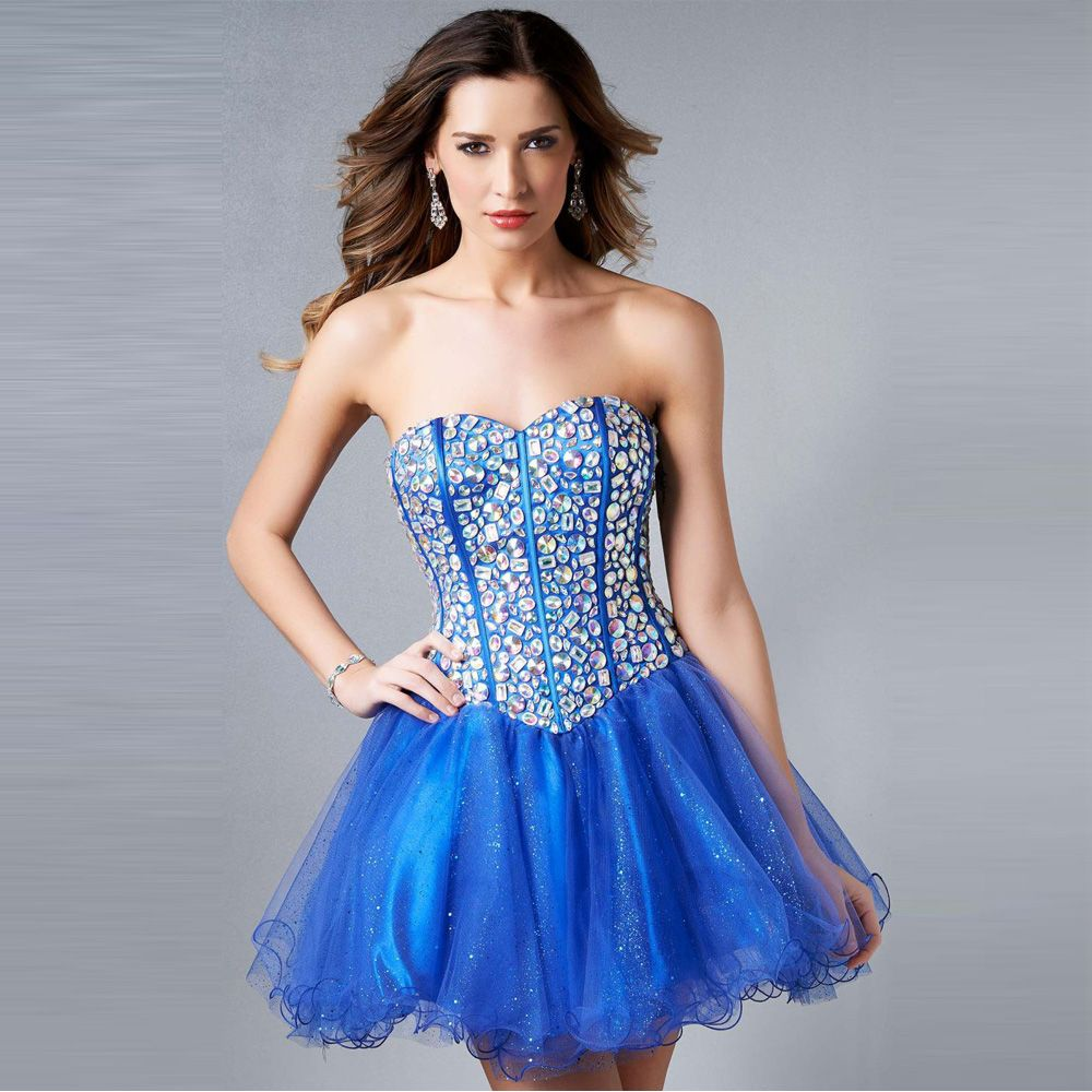 Blue crystal short cocktail dresses a line 2017 beaded cheap party blue crystal short cocktail dresses a line 2017 beaded cheap party gowns custom made vestidos ombrellifo Image collections