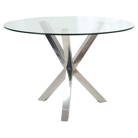 Stainless Steel Dining Table With A Pedestal Base And White Glass Top.  Product: Dining TableConstruction Material:.