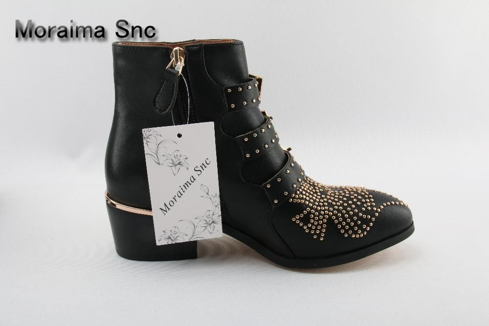 70ff3b4743d8 Black Leather Studded Ankle Boots For Women Gold Metal Buckle Strap Sexy  Motorcycle Booties Flat Heel