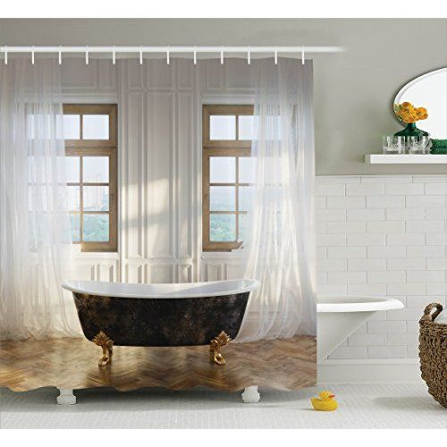 Extra Wide Vinyl Shower Curtain For A Clawfoot Tub White With