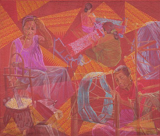 Hollis Chatelain, Silk, 49 X 58 inches, thread painted, machine quilted, 100% silk fabric, wool/polyester batting