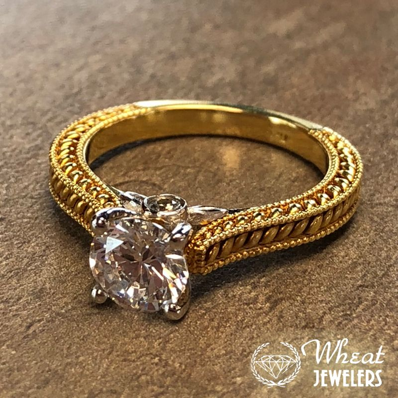 14k Two Tone White And Yellow Gold Vintage Hand Engraved