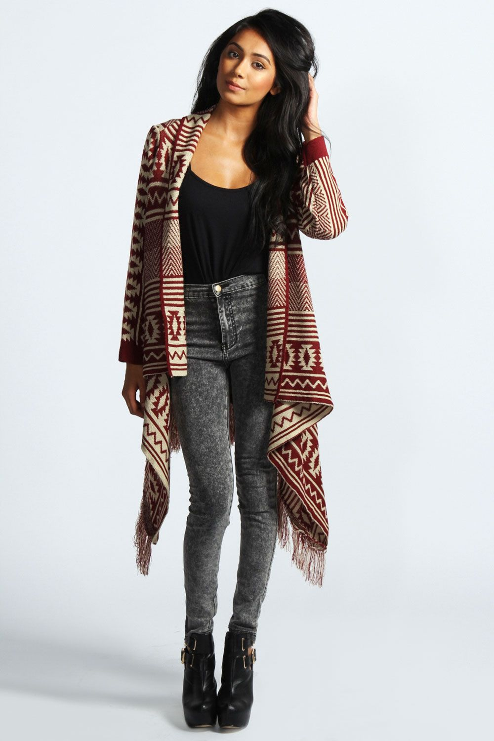 Adele Tassel Blanket Waterfall Cardigan at boohoo.com | EMPRESS ...