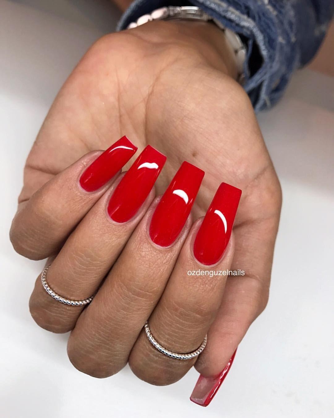Red Acrylic Nails Red Acrylic Nails Long Square Acrylic Nails Pink Acrylic Nails